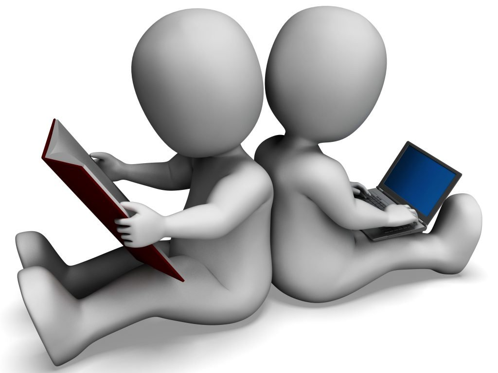Students Studying Shows Book Reading Or Online Learning