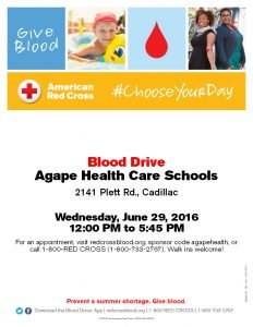 Blood Drive – June 29, 2016 – Agape Cadillac